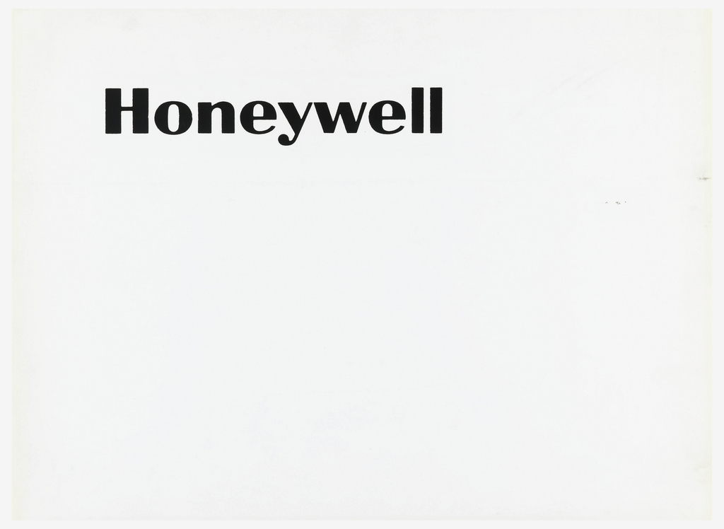 Black text upper section of white ground: Honeywell.