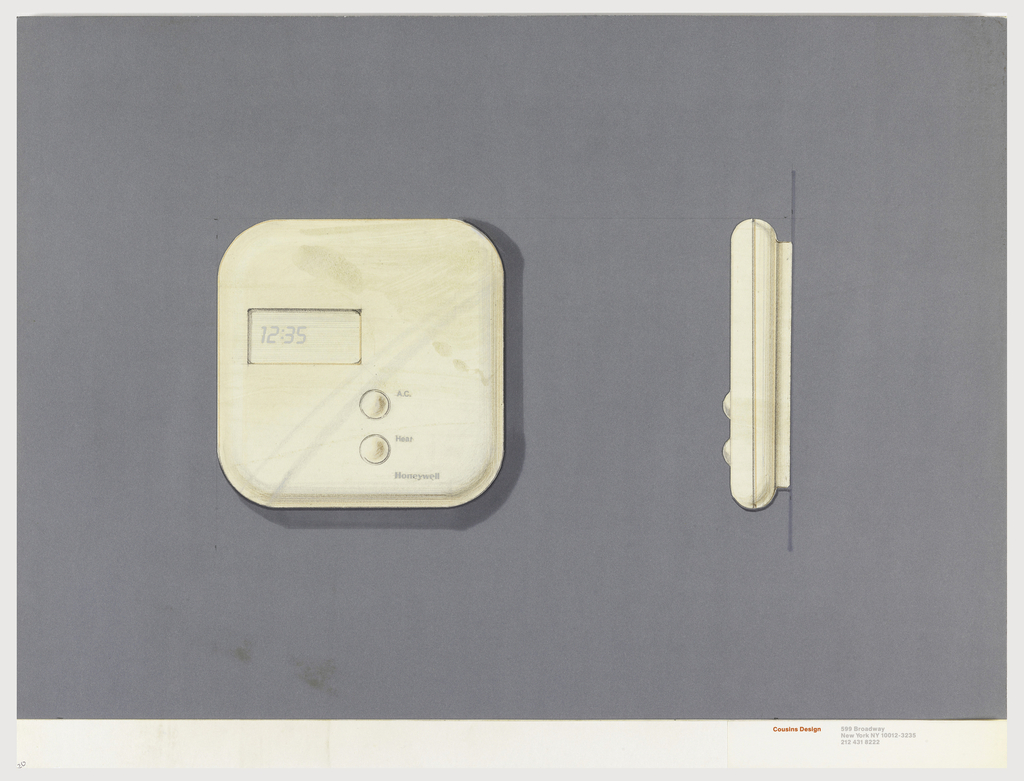 On violet paper, drawing of a square thermostat with rounded corners, digital number display, two round buttons lower center, labeled: A.C. / Heat. Below: Honeywell.  On the right the side view of the thermostat. Below, text in red: Cousins Design; in grey: 599 Broadway / New York NY 10012-3235 / 212 431 8222