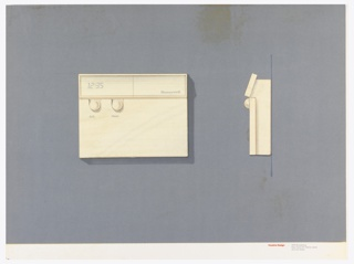 On gray-violet paper, drawing of a square thermostat, digital number display; upper right: Honeywell; two round buttons below, labeled: A.C. / Heat. On right: side view of the thermostat. Below, text in red: Cousins Design; in grey: 599 Broadway / New York NY 10012-3235 / 212 431 8222