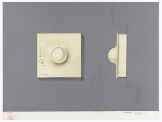 On gray-violet paper, drawing of a square thermostat, dial with numbers and red line indicator; lower left: Honeywell; 5 circular LED lights in a column, labeled: Luxury; Normal; Economy; Setback; Manual; one round buttons below, labeled: Change. On right: side view of the thermostat. Below, text in red: Cousins Design; in grey: 599 Broadway / New York NY 10012-3235 / 212 431 8222