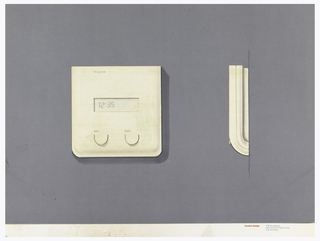 On gray-violet paper, drawing of a square thermostat, digital number display at center; upper left: Honeywell; two round buttons below, labeled: A.C. / Heat. On left: side view of the thermostat. Below, text in red: Cousins Design; in grey: 599 Broadway / New York NY 10012-3235 / 212 431 8222