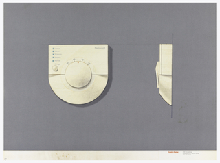 On gray-violet paper, drawing of a square thermostat with a rounded bottom, dial with numbers and red dot indicator; upper right: Honeywell; labeled at upper left in a column: Luxury; Normal; Economy; Setback; Manual; round button below, labeled: Change. On right: side view of the thermostat. Below, text in red: Cousins Design; in grey: 599 Broadway / New York NY 10012-3235 / 212 431 8222