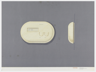 On gray-violet paper, drawing of an oval thermostat, digital number display at left; upper right: Honeywell; two U-shaped buttons labeled: A.C.; Heat. On right: side view of the thermostat. Below, text in red: Cousins Design; in grey: 599 Broadway / New York NY 10012-3235 / 212 431 8222