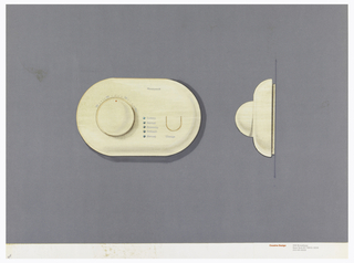 On gray-violet paper, drawing of an oval thermostat, dial with numbers and red dot indicator; upper right: Honeywell; labeled at center in a column: Luxury; Normal; Economy; Setback; Manual; U-shaped button below, labeled: Change. On right: side view of the thermostat. Below, text in red: Cousins Design; in grey: 599 Broadway / New York NY 10012-3235 / 212 431 8222