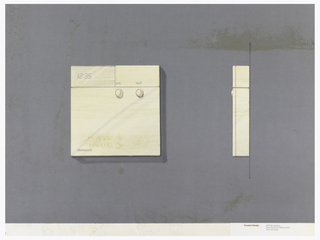 On gray-violet paper, drawing of a square thermostat, digital number display at upper left; lower left: Honeywell; two round buttons labeled: A.C.; Heat. On right: side view of the thermostat. Below, text in red: Cousins Design; in grey: 599 Broadway / New York NY 10012-3235 / 212 431 8222