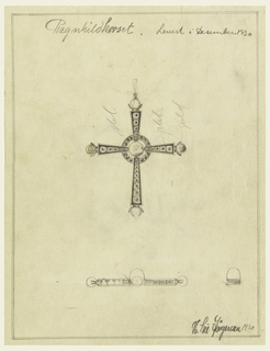 "Latin cross form with circular element at center surrounded by a ring. Each end of cross features a curved prong where a sphere is placed. Graphite markings throughout. Below, plan view of design. Words throughout include: ""Plat"" and ""gold""."