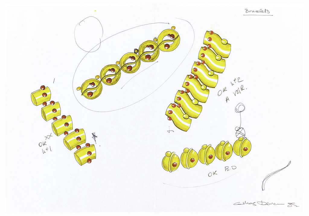 Four designs for bracelets drawn at various angles on page, all gold. Left bracelet composed of short cylinders linked horizontally by red beads, notations in black ink: OK XX / no. 1 *; top bracelet composed of rings with a curvy line passing through and red beads, encircled by black mark; right bracelet composed of bent cylinders, linked horizontally with red and gold beads, notations: OK no. 2 / A VOIR; lower bracelet composed of spheres with one gold bead and one red bead, notations: OK B.O.