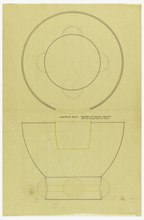 "Round flaring bowl drawn in plan and elevation, upper center with applied square panel indicated in yellow pencil to be executed in veermeil. Raised on a short circular base decorated with embedded golf balls on four sides and a central inlaid band indicated in yellow color pencil to be executed in vermeil. Underdrawing in graphite of bowl in golden section. Puiforcat collection contains archival photograph of cup, Box 9, Folder 19, ""Cups, 9000 series,"" # 9119. Puiforcat Fabrication #: 9119, Coupe forme boule 4 boules ivoire avec applique relief"