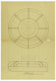 Low circular box with rounded edges drawn in plan and elevation. Rounded lid with eight applied ribs surmounted by a cylindrical finial composed of seven glass discs indicated in green ink to be executed in plate glass. On plan, a circular pellet at base of each rib. Underdrawing in graphite of box in golden section. Puiforcat Fabrication #: