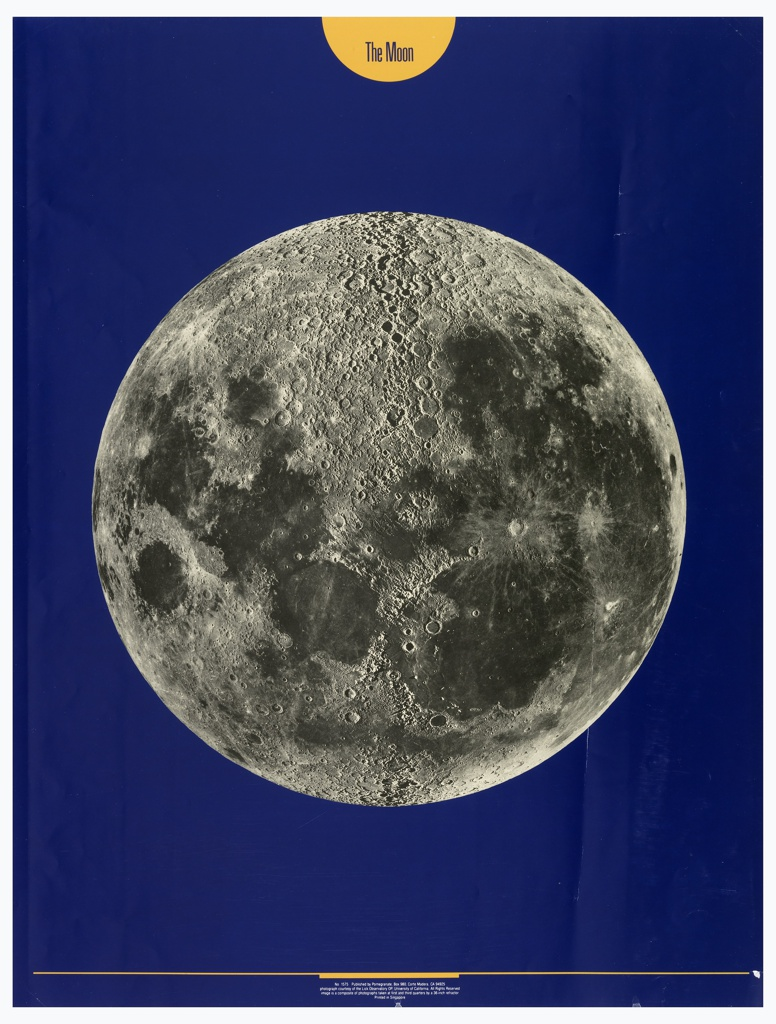 Black and white photograph of the moon on a blue background; upper margin, yellow semicircle with blue text: The Moon. A yellow line across lower margin.