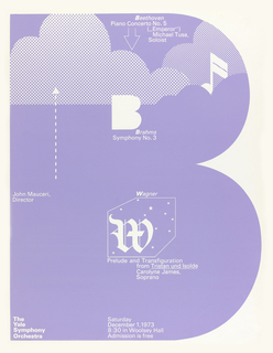 Poster, Yale Symphony Orchestra plays Beethoven, Brahms, and Wagner, December 1, 1973