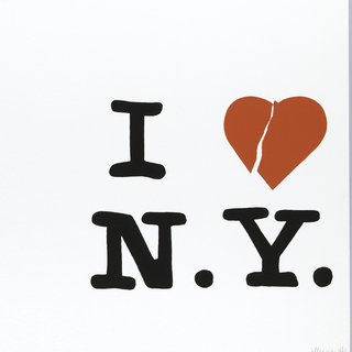 White poster with text in black: I [heart] / N. Y. Heart is red and has a crack in it.