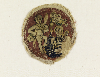 Roundel depicting Herculas wearing lion skin and carrying a club with Victory in the sky. Seated figure at the lower right is incomplete.