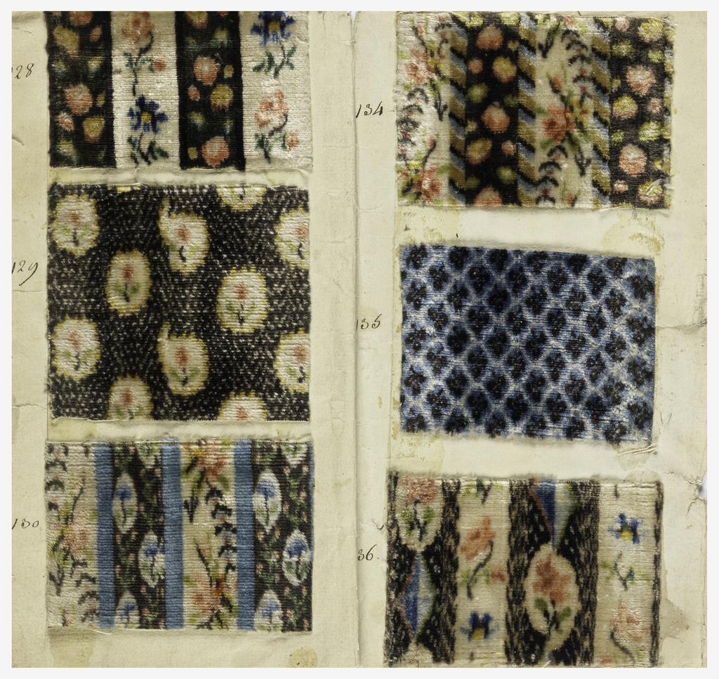 Six manufacturer's samples of velvets for men's waistcoats. Patterns are chiné and show small conventionalized floral patterns.