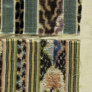 Five small manufacturer's samples of waistcoat velvets. All are done in chiné technique. Four have satin stripes.