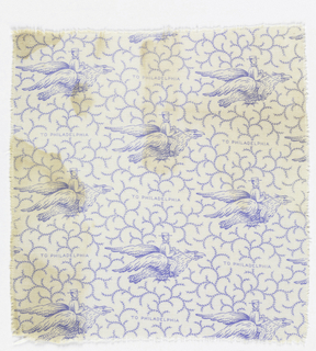 """White fabric printed in blue with a design of a man seated on a flying eagle with the inscription """"To Philadelphia."""" Background has a scrolling vine pattern. Made to commemorate the Philadelphia Centennial in 1876."""