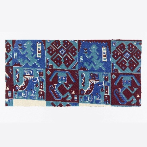Fragment showing a design comprised of four blocks, based on a human and animal figures, and one with a geometric interlacing design, in maroon, green and blue. Design inspired by motifs found on the textiles of mummy bundles from the Bolivian Andes.