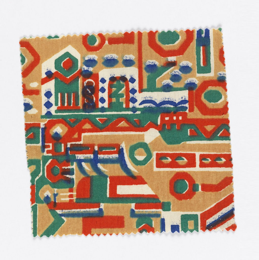 Textile fragments. Plain weave cotton printed with abstracted polychrome pattern in orange, white, blue and green.