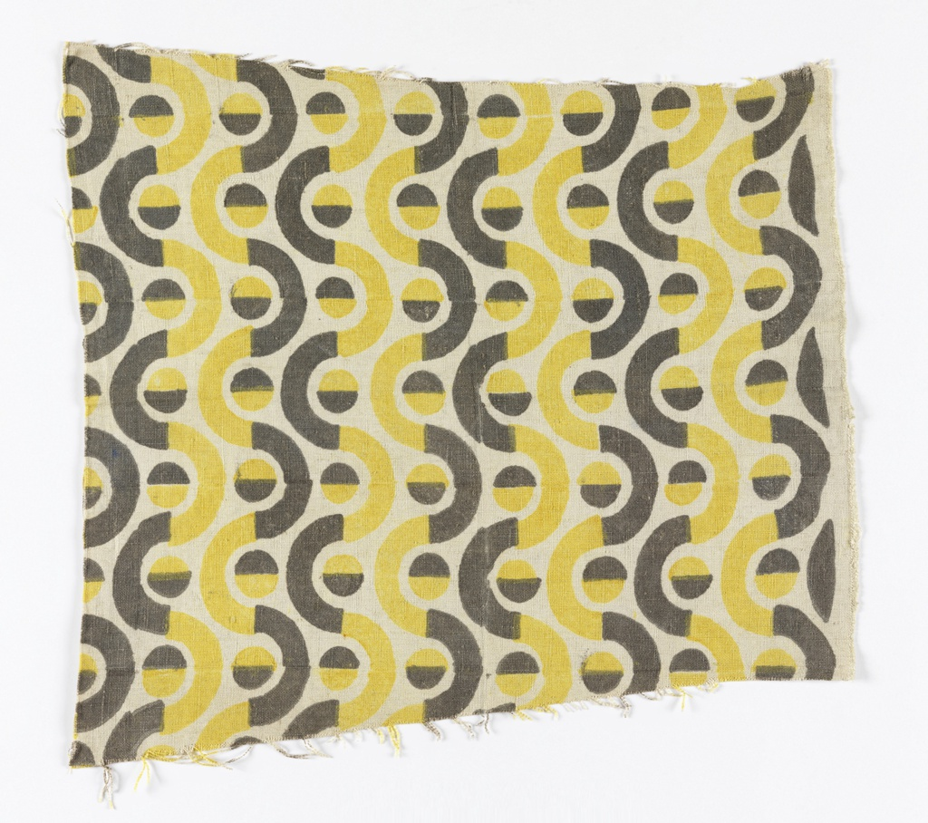 Undulating stripe of alternating yellow and dark gray half-circle curves.  Each curve contains a dot which is half gray and half yellow.  Printed on an unbleached linen ground.