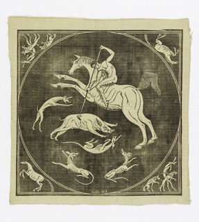 "Cream-colored square with a block printed design in black showing a naked horseman spearing a wild boar that is surrounded by hunting dogs. In corners outside circle are horses and dogs. Design mostly reserved in color of the silk with black outlines and details. At the bottom of the circle: ""Biddle 1923."""