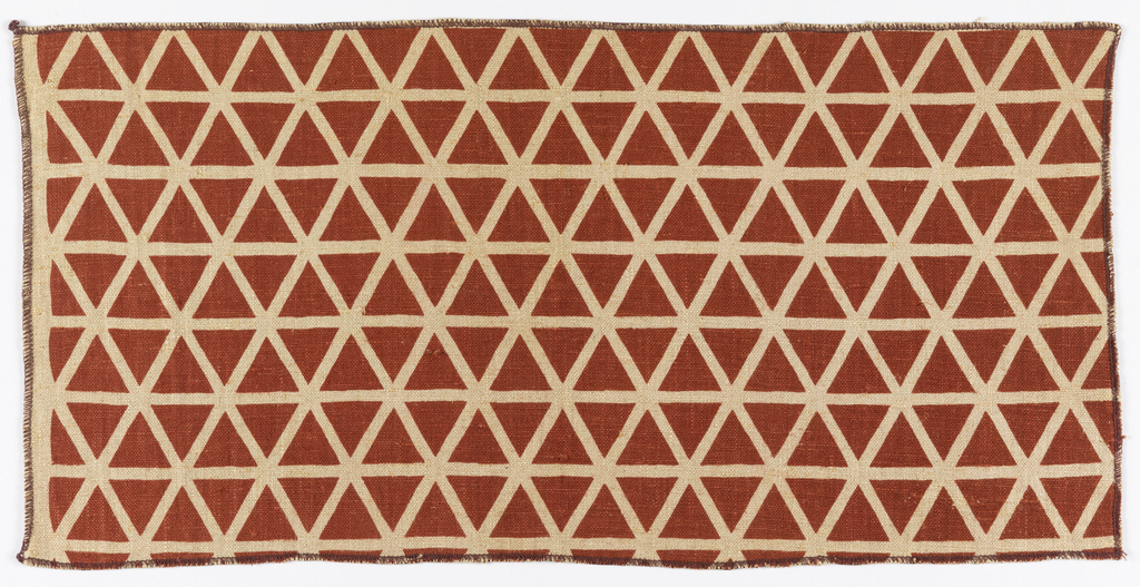 Allover small-scale design of equilateral triangles outlined in dull red on a natural linen ground.