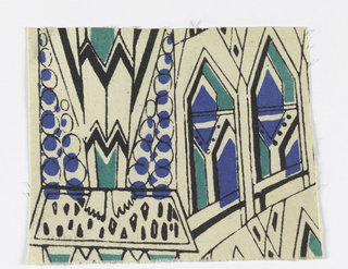 Stylized all-over design of cathdral facades, in black lines with accents of blue and green.