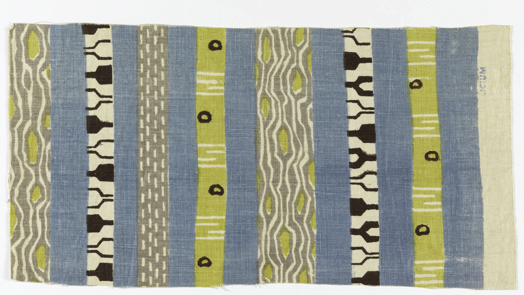 Vertical stripes of varied widths, some plain, some patterned. In dark brown, gray, lemon yellow, delft blue, on white ground.