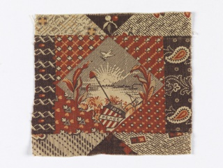 "Small fragment of a centennial print in red, brown and black. Pattern shows a central diamond shape with a setting sun, dove, liberty cap, shield with ""1876"" and ""Peace"" inscribed. Other sections of the design incomplete."