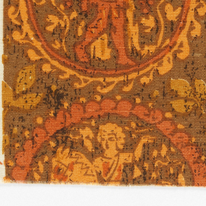 Sample of printed linen showing pattern of roundels with pedestrian and equestrian figures in orange, red and white on brown ground.