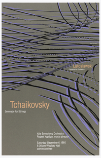 Poster depicting black and purple lines across a gray background. In pink, center right: Lutoslawski / [in white] Concerto for Orchestra; left: Tchaikovsky / [in white] Serenade for Strings; below, in white: Yale Symphony Orchestra / Robert Kapilow, music director / Saturday December 6, 1980 / 8:00 pm Woolsey Hall / admission free.