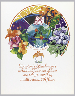 In a disc-like formation: scene of mountains and a waterfall (Hawaii-like), parrot, variety of colorful flowers. Below this, in red ink: Hollywood in Bloom; two flamingos. Below in red ink: Dayton's-Bachman's / Annual Flower Show / march 31-april 14 / auditorium, 8th floor