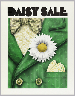 Cropped man's green suit jacket with cream square in pocket, bowtie and large daisy in button hole. Above, in black bold lettering: DAISY SALE.