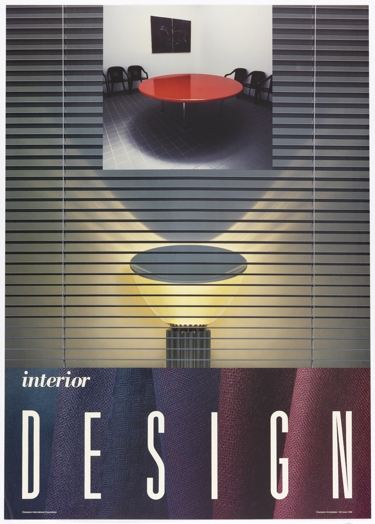 On a ground composed of vertical blinds, an image of an interior with a red table and black chairs above. As though lit from below by a bell-shaped lamp, creating dramatic lighting and shadows. Lower margin on a ground of folded fabrics in blues and purples, in white: interior / DESIGN.