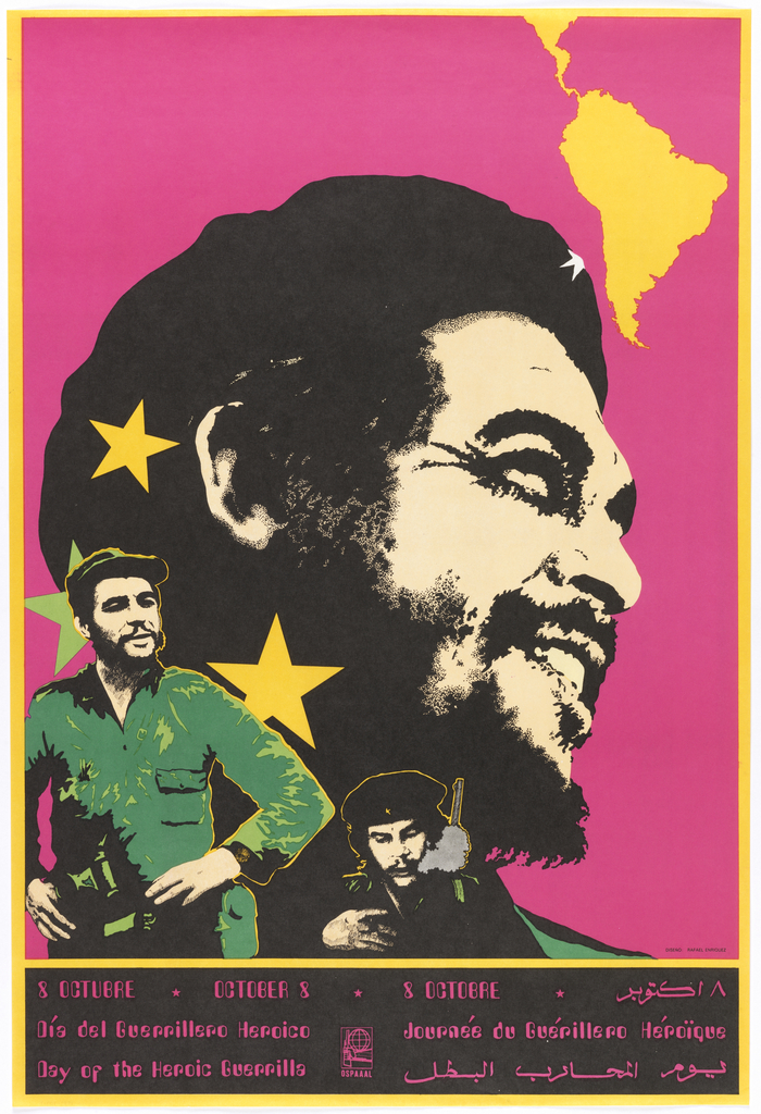 On magenta background, head shot of Che Guevara with yellow stars and silhouette of South America in upper right. To the lower left, another image of Che in uniform, and a third lower center wearing black. In magenta on black ground: 8 OCTUBRE 8 OCTOBER 8 OCTOBRE [date in Arabic] / Día del Guerrillero Heroico / Day of the Heroic Guerrilla; Journée du Guérillero Héroïque / [same in Arabic]. At center, logo for OSPAAAL.