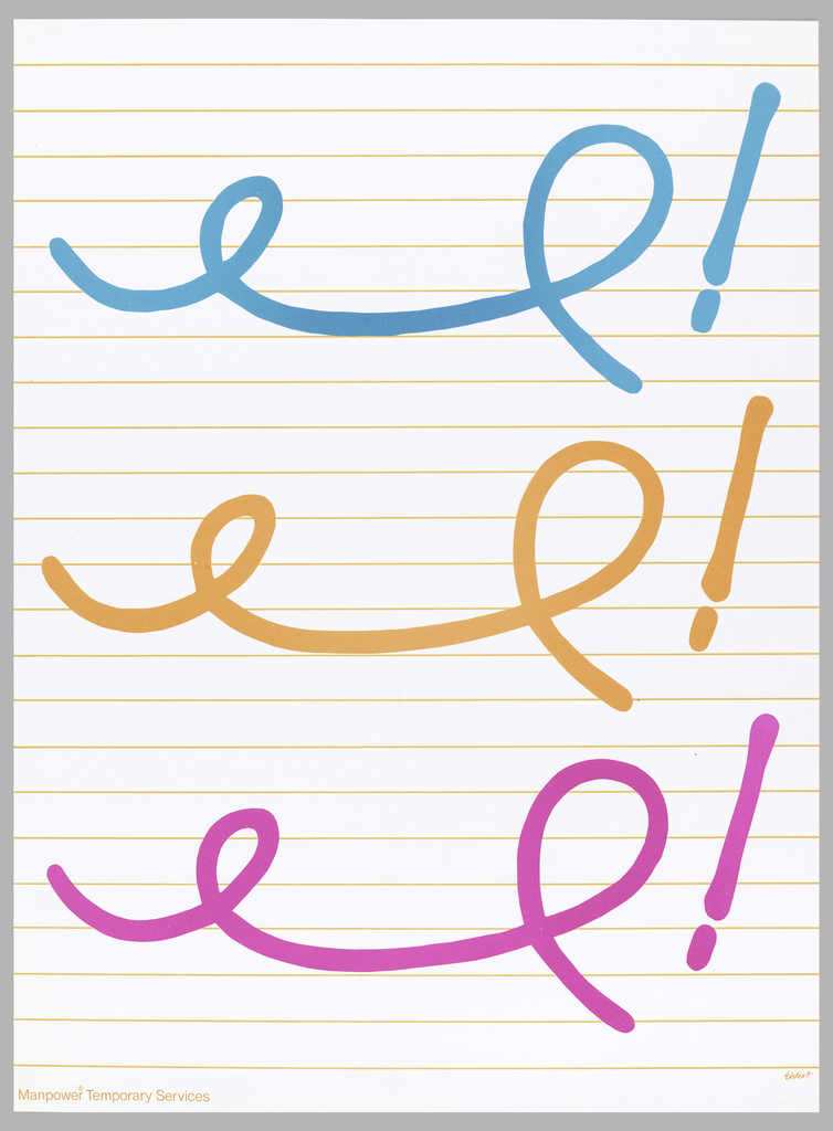 On lined white paper, three shorthand notations imprinted in blue, orange, and magenta ink with an exclamation point at the end of each.