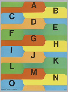 Poster is covered with alphabet letters on multicolored file folders: letters A through O printed in black ink across recto starting at upper center and finishing at lower left.