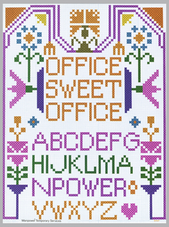 On a white ground, reminiscent of a cross-stitch work with flowers. In orange: OFFICE / SWEET / OFFICE; below in magenta, green, and orange: A through Z.