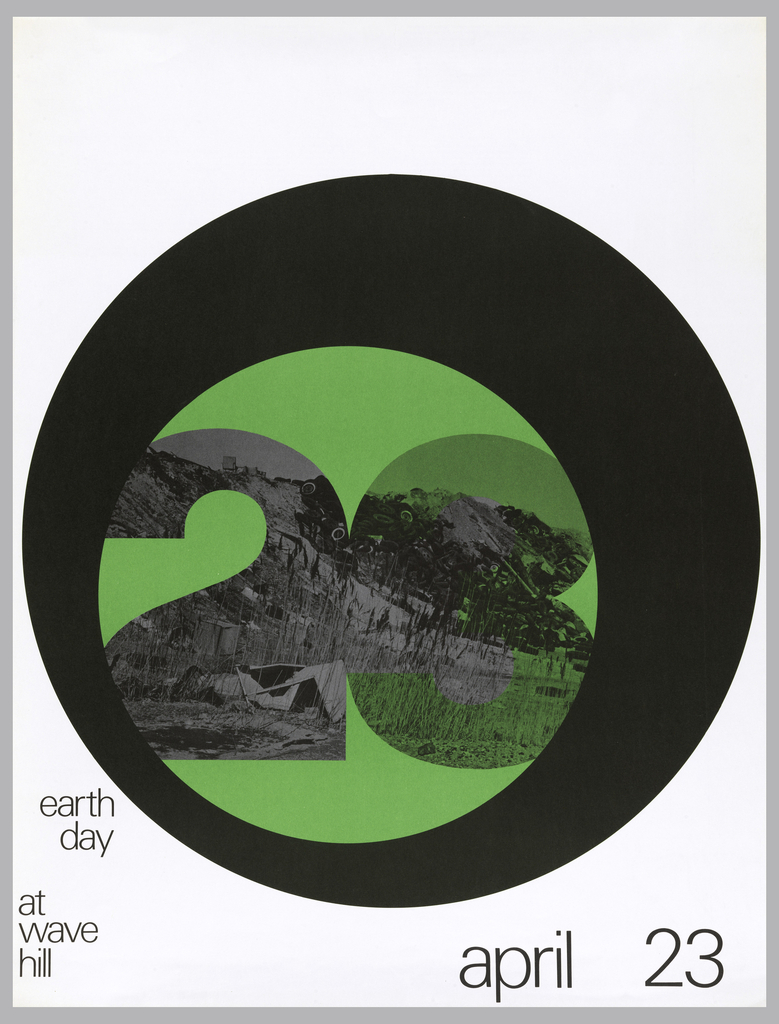 "On a white background, an image of an autodump within green and black circles. The image itself is in the shape of ""23"". In black ink, lower left: earth / day / at / wave / hill; lower right: april 23."