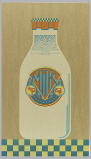 "Image of milk bottle with text, using milk metaphor for manager recreuitment message. On a tan background, a beige milk bottle stands on a checker pattern in turquoise and mustard yellow. Bottle cap with the same checker pattern and orange. At center, a circular ""label"" on milk bottle reads: Milk. An orange cow is in two parts. Below: T. G. I. F R I D A Y' S. In turquoise at the top of the bottle: The cream always rises to the top, as the old / saying goes. Now we're looking for the / crème de la crème – the best of the best - / among us. Because we need more good / managers with the ability it takes to / effectively motivate and supervise people. / We know we can skim off that kind of talent / right here in house – and not just among our / department heads. After all each and every / one of you are responsible for our phenomenally / successful operation. And it's a fact that over 70% / of Friday's managers were once hourly employees. / So if you're the kind of person who can really deliver, / think about becoming a Friday's manager. Because / although we're filled with the very best, there's still a little / room at the top. / Talk to your General Manager or call the Personnel Office in Dallas, / (214) 233-2900, for details."