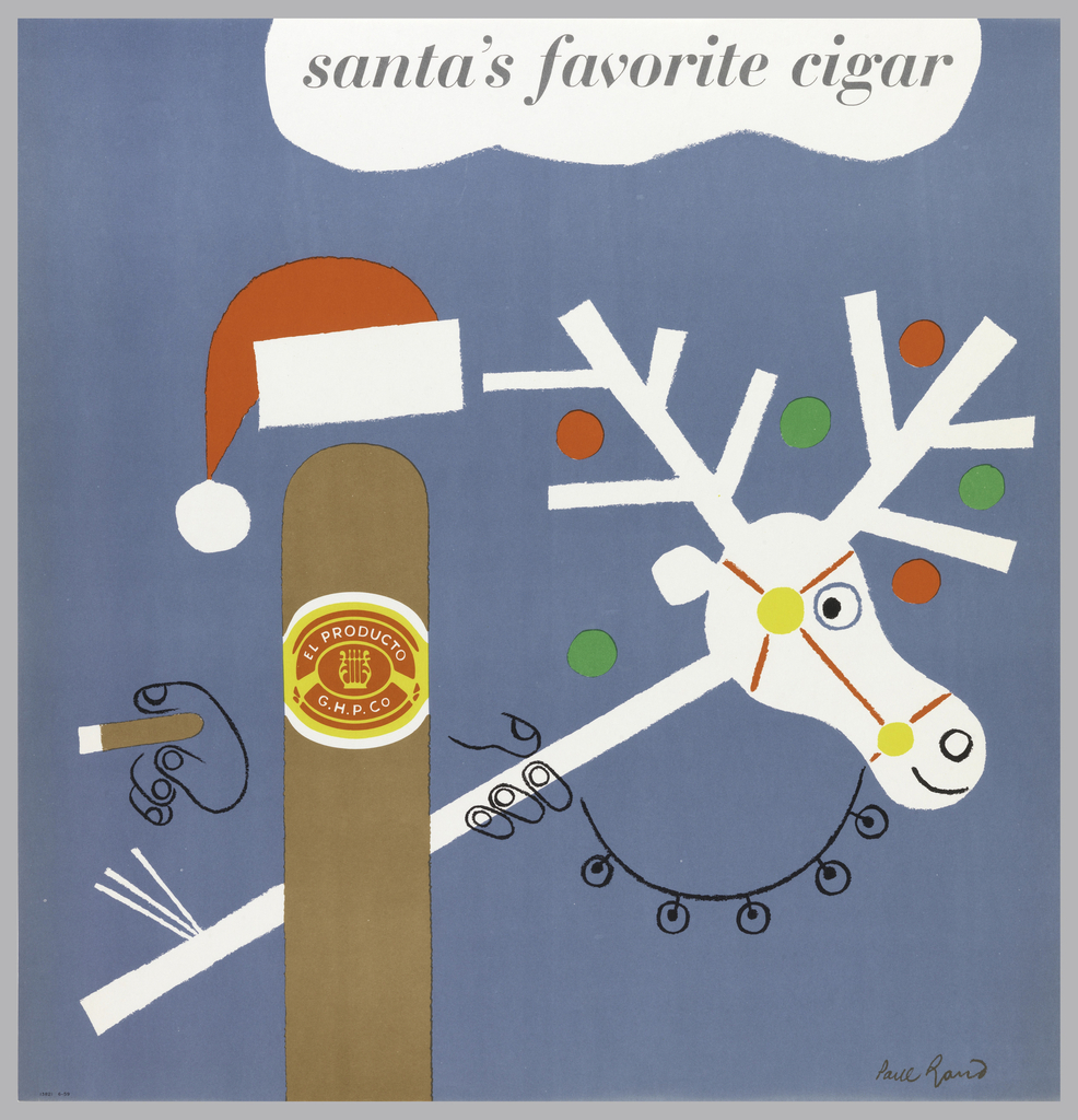 On a blue background, a personified cigar with drawn hands holding a cigar and wearing a Santa hat. Label in red and yellow on cigar: EL PRODUCTO / C.H.P.CO.  Cigar also holds a white toy reindeer with red and green circles in antlers. Above, in a cloud: santa's favorite cigar.