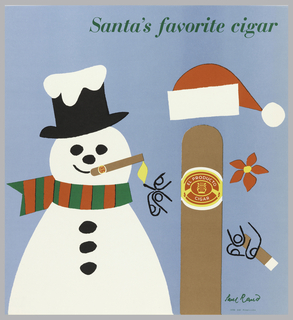 On a blue background, a personified cigar with drawn hands holding a cigar and wearing a Santa hat. Label in red and yellow on cigar: EL PRODUCTO / C.H.P.CO.  Match lights a cigar in snowman's mouth. Above: Santa's favorite cigar.