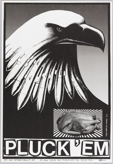 Eagle's head with missiles as feathers; lower right a photograph of a baked chicken. Below in large letters: PLUCK 'EM.