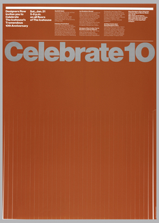 On red ground, gray text across poster: Celebrate 10; above, in white: Designers Row / invites you to / Celebrate / The Icehouse's / Tremendous / 10th Anniversary; Sat., Jan 21 / 5-8 p.m. / on all floors / of The Icehouse…Confetti Gala...Fabulous Festivities!...Ice Sculpture Scoop!...Lower two-thirds is cut into vertical strips.