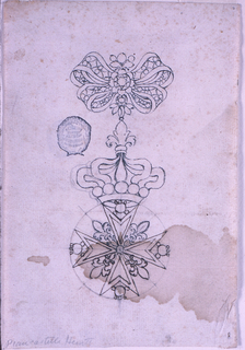Above is a bow knot with gems. From it hangs a crown standing on top of a Maltese cross. Fleur-de-lys are in the sngles between the cross arms; beads in each arm.