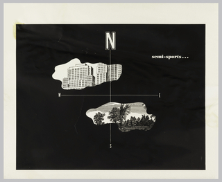 """On black ground, cardinal directions: large """"N"""", smaller """"W,"""" """"E,"""" and """"S"""". Two areas that look like puddles or open windows; above, an image of buildings and below, trees in a landscape. Upper right: semi-sports…"""