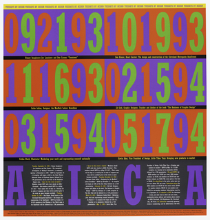 On a ground of red and blue rectangles, numbers in red and green, with upper edge in yellow and lower in red. In between the rectangles there are black bands. Above: TUESDAYS BY DESIGN. Below: A I G A. Text features program schedule of events at AIGA.