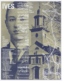 Poster for upcoming program featuring work of Charles Ives. Left side shows a grayscale photograph of a young man, enlarged to reveal is dot-matrix, with a musical score overlaid at right and information on the event at left. . Right side is a grayscale photograph of a church with white map overlay.