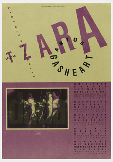 Upper half of poster has tan ground, lower half has purple ground. Upper half features black text in upper margin: Ontwerp Ben Faydherbe en Wout De Vringer Den Haag; in large purple letters, across poster: TZARA; in black: TRISTAN; DANS UIT HONGARIJE; in a circle: ARTUS GASHEART. Lower section of poswter, features a lightly printed photo of dancers with lightly printed: dada; below this: MAHR KAROLY / FOTOGRAFUS / HUNGARY / 361 586054; right side: AMSTERDAM / SHAFFY / 13T/M21MEI / BEHALVE 15 MEI / AANVANG ALLE DAGEN 21.00 UUR / (020) 231311 / GRONINGEN / KRUITHUIS 23 EN 24 MEI / AANVANG 20 30 UUR (050) 125645…