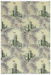 Gothic-inspired design, with alternating views of castles of two different designs set in irregular framework composed of gray leaves with red veining, edged with green dotting. Vertical rectangle.