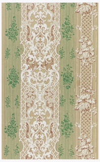 Rococo Revival stripe printed in red, green and white on gray ungrounded paper.